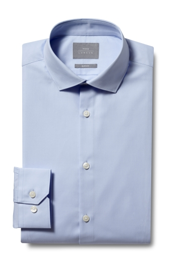 Moss London Slim Fit Blue Single Cuff Twill eco Shirt