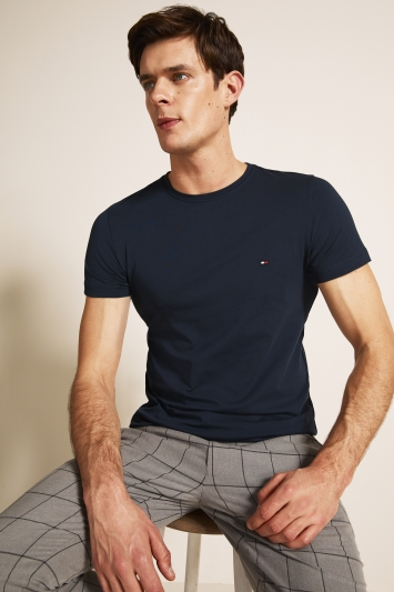 Tommy Hilfiger Navy Stretch Slim-Fit Crew-Neck T-Shirt