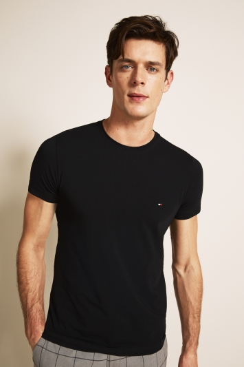 Tommy Hilfiger Black Stretch Slim-Fit Crew-Neck T-Shirt