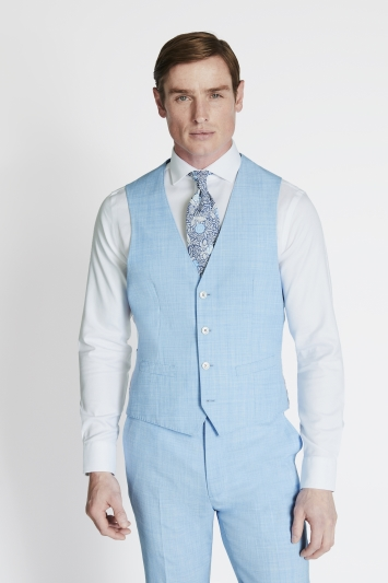 French Connection Slim Fit Sky Blue Marl Waistcoat