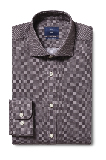 Moss 1851 Tailored Fit Brown Single Cuff Textured Dobby Shirt