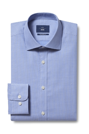 Moss 1851 Tailored Fit Blue Single Cuff Dobby Shirt
