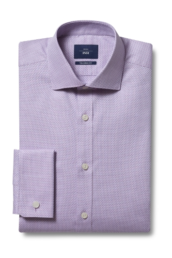 Moss 1851 Tailored Fit Pink Double Cuff Two Tone Dobby Shirt