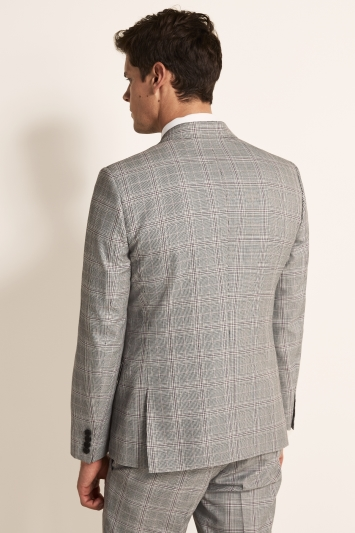 Moss London Slim Fit eco Black & White Raspberry Check Double Breasted Jacket