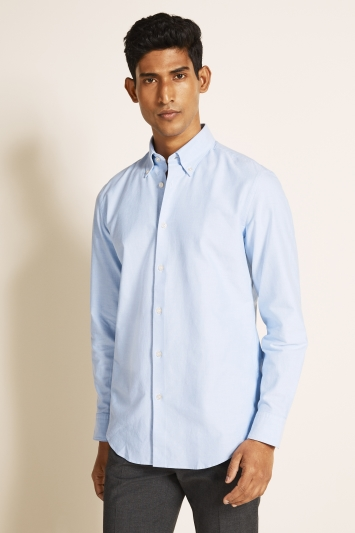 Moss 1851 Tailored Fit Sky Single Cuff Oxford Shirt