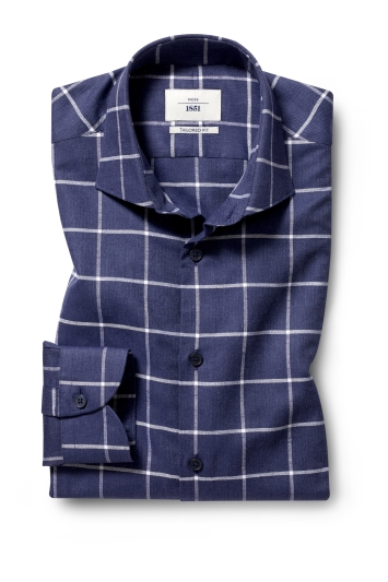 Moss 1851 Tailored Fit Navy Single Cuff Check Informal Shirt