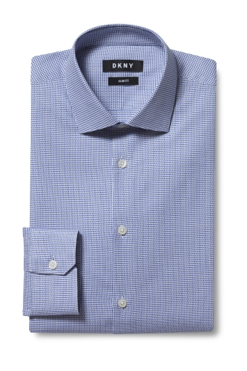 DKNY Slim Fit Navy Single Cuff Texture Shirt