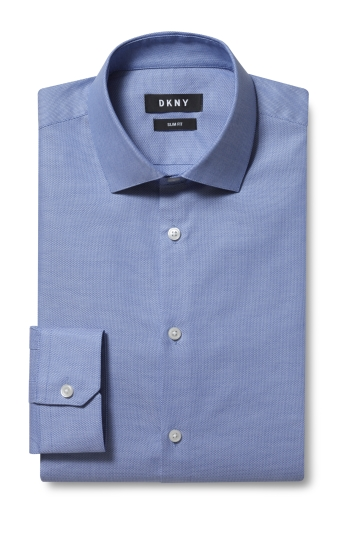 DKNY Slim Fit Blue Single Cuff Dobby Shirt