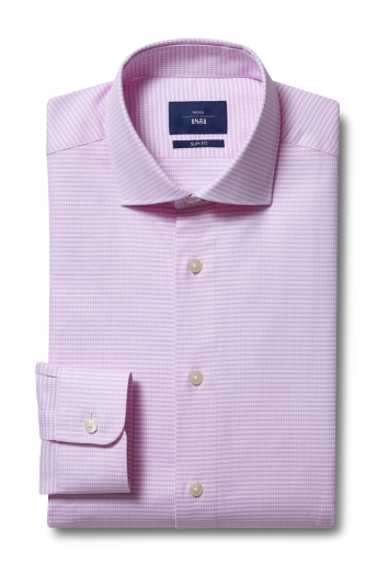 Moss 1851 Slim Fit Pink Single Cuff Dobby Shirt