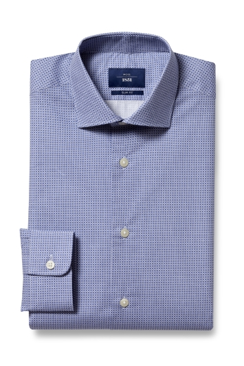 Moss 1851 Slim Fit Blue Single Cuff Print Shirt