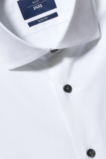 Moss 1851 Slim Fit White Single Cuff Stretch Contrast Shirt