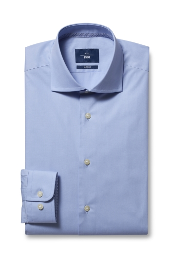 Moss 1851 Slim Fit Sky Single Cuff Stretch Contrast Shirt