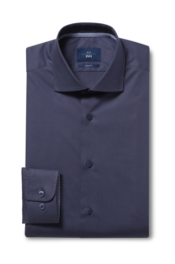 Moss 1851 Slim Fit Navy Single Cuff Stretch Contrast Shirt