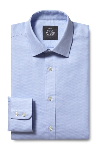 Savoy Taylors Guild Regular Fit Single Cuff Sky Dobby Shirt