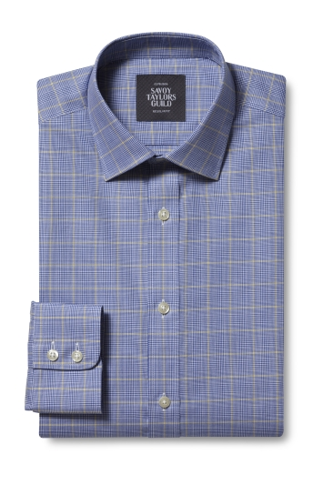 Savoy Taylors Guild Regular Fit Navy Single Cuff Prince of Wales Check Shirt
