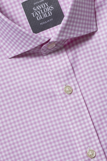 Savoy Taylors Guild Regular Fit Pink Single Cuff Oxford Check Shirt