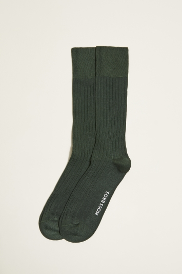 Moss 1851 British Racing Green Fine Ribbed Sock