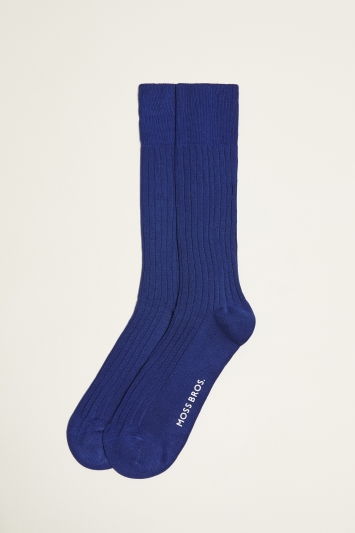 Moss 1851 Royal Blue Fine Ribbed Sock