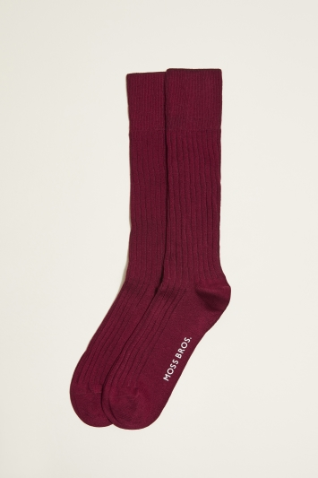 Moss 1851 Burgundy Fine Ribbed Sock