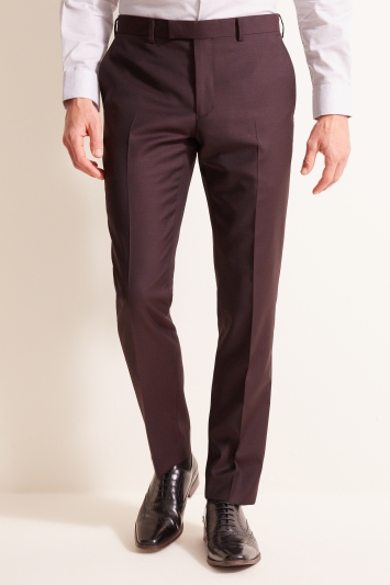 DKNY Slim Fit Burgundy Trousers