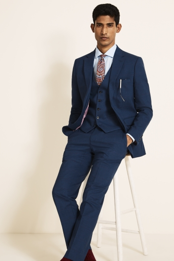 Moss London Slim Fit Navy With Purple Check Jacket