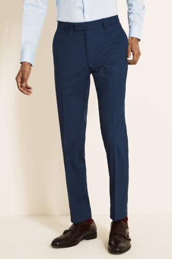 Moss Lonodn Slim Fit Navy With Purple Check Trousers