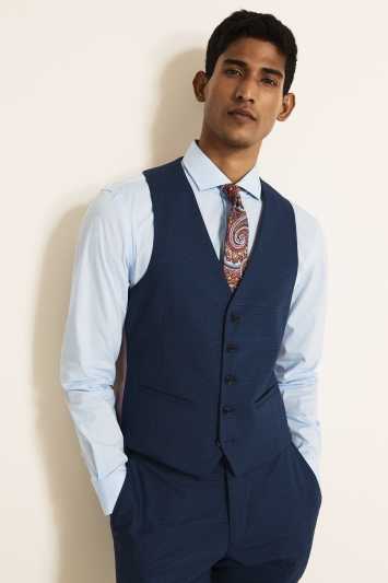 Moss London Slim Fit Navy With Purple Check Waistcoat
