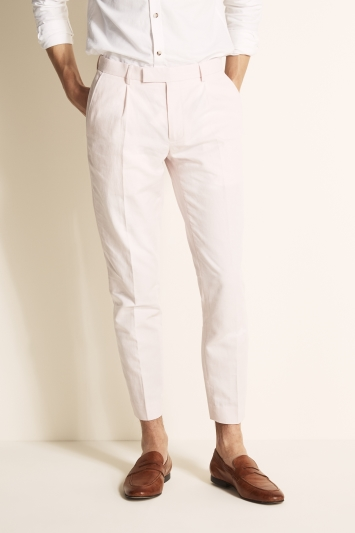 Moss London Slim Fit Pastel Pink Linen Blend Single Pleat Cropped Trouser