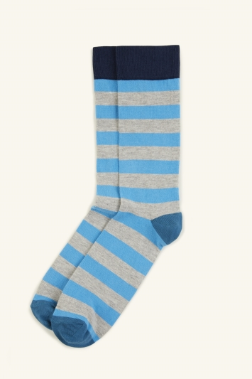 HS by Happy Socks Grey Marl with Turquoise Stripe Sock
