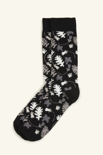 HS by Happy Socks Black Leaf Pattern Sock