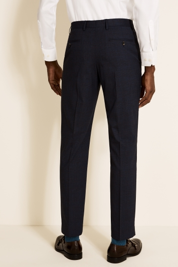 Moss 1851 Tailored Fit Navy with Red Check Trouser