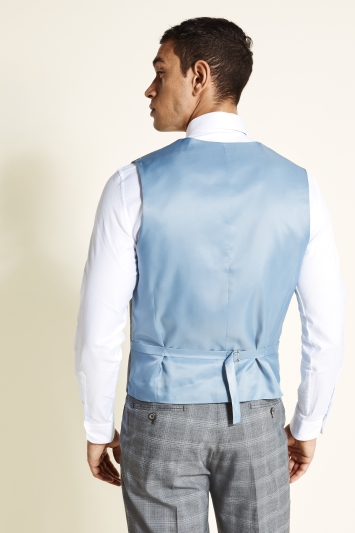 Moss 1851 Tailored Fit Grey with Blue Check Waistcoat