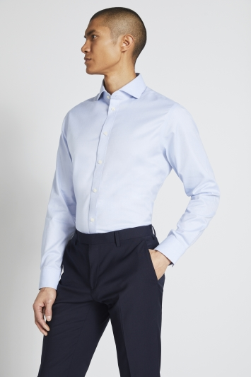 Moss 1851 Tailored Fit Sky Single Cuff Textured Zero Iron Shirt
