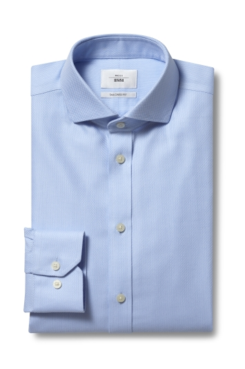Moss 1851 Tailored Fit Sky Single Cuff Arrow Weave Zero Iron Shirt