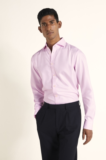 Moss 1851 Tailored Fit Pink Single Cuff Arrow Weave Zero Iron Shirt