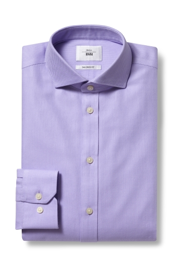 Moss 1851 Tailored Fit Lilac Single Cuff Arrow Weave Zero Iron Shirt
