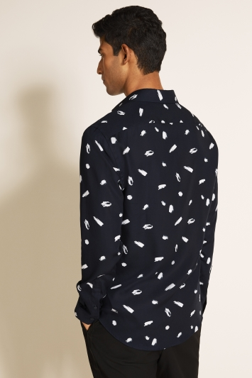 Moss London Slim Fit Navy Single Cuff Printed Shirt