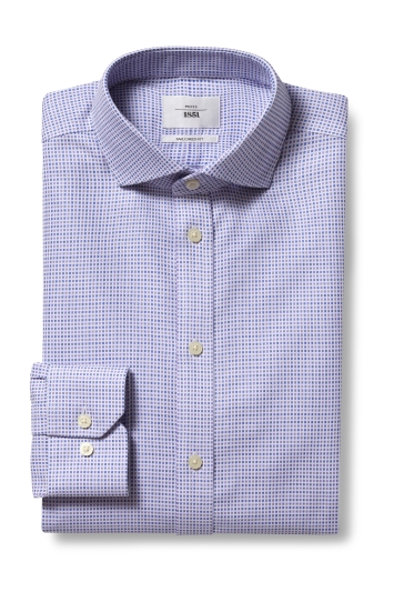 Moss 1851 Tailored Fit Lilac Single Cuff Dobby Zero Iron Shirt