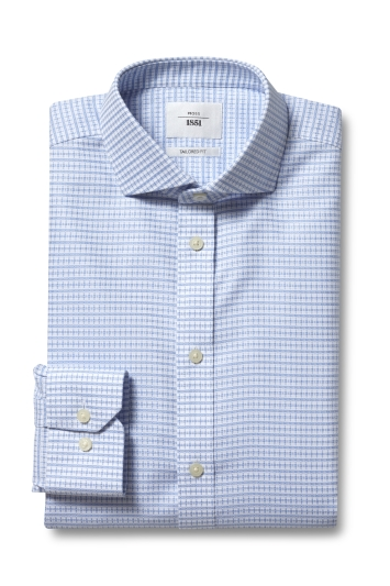Moss 1851 Tailored Fit Sky Single Cuff Grid Texture Zero Iron Shirt