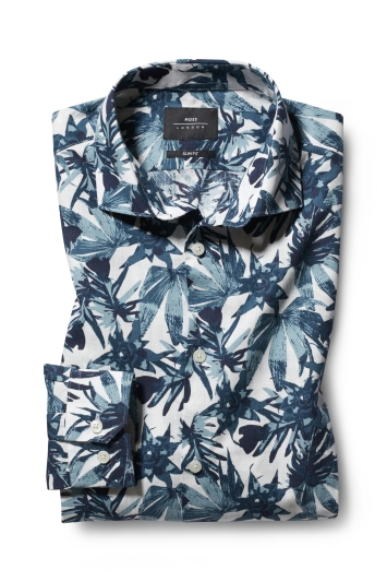 Moss London Slim Fit Green Single Cuff Leaf Print Shirt