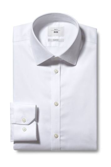 Moss 1851 Slim Fit White Single Cuff Chevron Weave Zero Iron Shirt