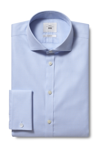 Moss 1851 Slim Fit Blue Double Cuff Puppytooth Zero Iron Shirt