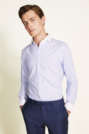 Moss 1851 Slim Fit Blue Single Cuff Stripe Contrast Collar Zero Iron Shirt