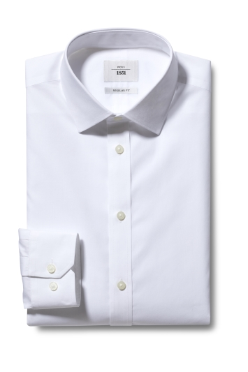 Moss 1851 Regular Fit White Single Cuff Poplin Zero Iron Shirt