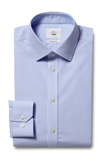 Moss 1851 Regular Fit Blue Single Cuff Bengal Stripe Zero Iron Shirt