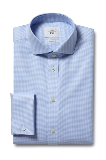 Moss 1851 Regular Fit Blue Double Cuff Puppytooth Zero Iron Shirt