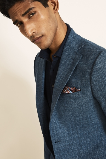 Moss 1851 Tailored Fit Blue Texture Jacket