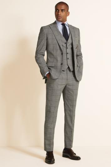 Moss 1851 Tailored Fit Grey Navy Prince of Wales Check Jacket