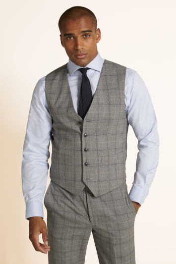Moss 1851 Tailored Fit Grey Navy Prince of Wales Check Waistcoat