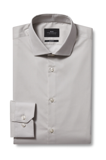 Moss London Slim Fit Stone Single Cuff Stretch Shirt